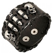 MORE FUN Punk Style Black Leather Cuff Bracelet Wristband Bullet Design ... - $27.19