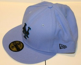 MLB New York Mets New Era 59FIFTY Fitted Lt Blue With Navy NY Baseball Hat 8 1/2 - $49.99