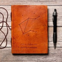 Libra Zodiac Handmade Leather Journal - $38.00