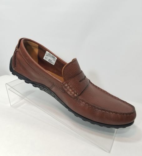 CLARKS COLLECTION COGNAC HAMILTON WAY BROWN LEATHER LOAFER ORTHOLITE MEN'S 13M
