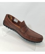 CLARKS COLLECTION COGNAC HAMILTON WAY BROWN LEATHER LOAFER ORTHOLITE MEN... - $48.99