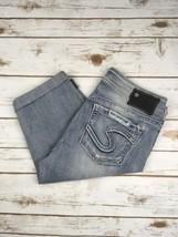 Silver J EAN S Shorts Mid Rise Suki Denim Destroyed Cuffed Stretch Jean Shorts 28 - $19.97