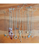 Vintage costume jewelry NECKLACE lot of 11 LOVE & HEART rhinestone charm... - $25.73