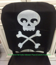 Gothic Pirate Birthday-SKULL & CROSSBONES CHAIR COVER-Haunted House Deco... - $3.93