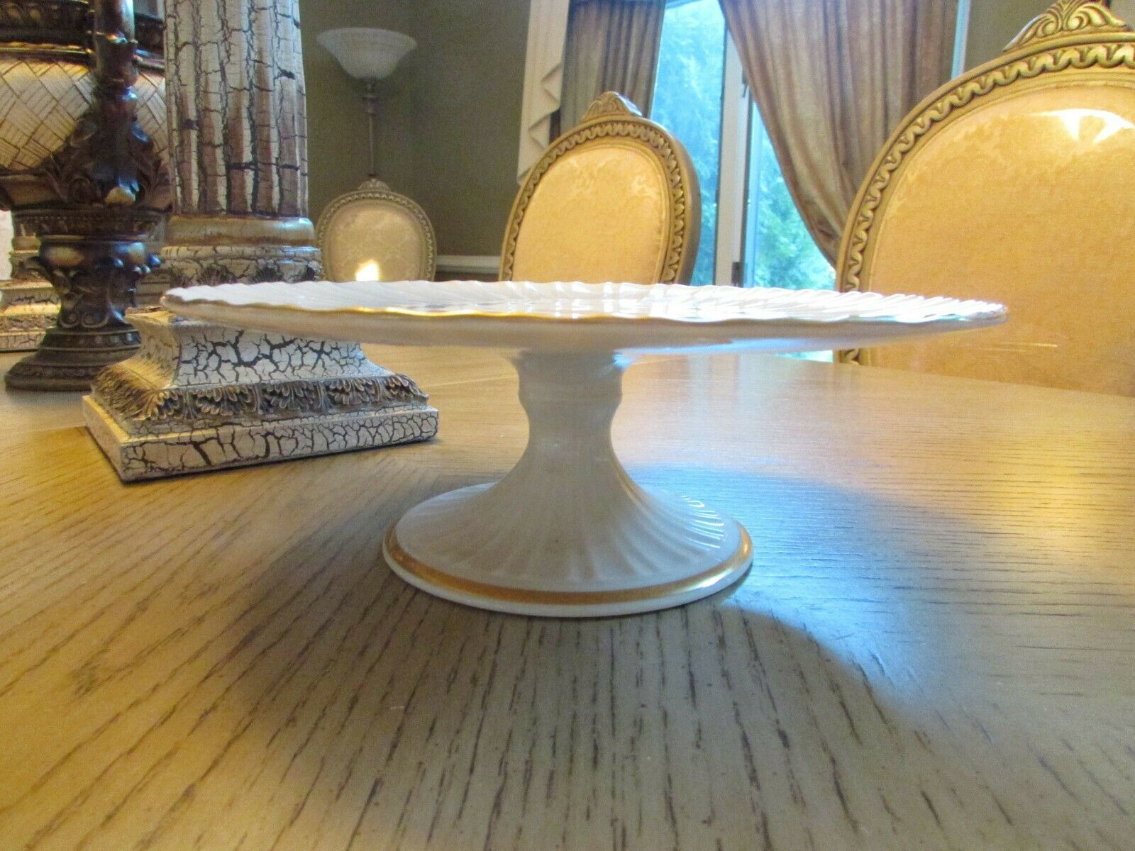 """LENOX CHINA FOOTED CAKE PLATE PLAZA COLLECTION 10.75"""" MADE IN USA"""