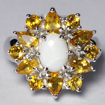 Natural Opal Citrine Cluster Flower Cocktail Ring Womens 925 Sterling Si... - $89.00