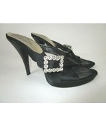 BEBE Sz 7 M 38 Black Satin Rhinestone Buckle Slides Womens Heels Shoes H... - $16.70