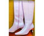 "Pink Go-Go Boots Knee High Boots w Side Zipper 1-1/2"" heel Sz 9.5 NEW Never Worn"