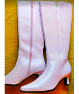 "Pink Go-Go Boots Knee High Boots w Side Zipper 1-1/2"" heel Sz 9.5 NEW Never Worn - $49.99"