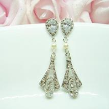 Art Deco Swarovski Earrings - Sterling Silver Cubic Zirconia - $39.00