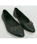 B.O.C. black pebbled leather pointed toe buckle slip on flats 8.5 EU 40 ... - $37.04