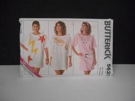 Vintage 1987~Butterick #5625~All Sizes~Long/Short Sleeve T-Shirt Dress Pattern - $6.95