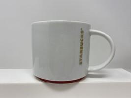 16oz Footed Wide Starbucks White, Gold, Red Ceramic Coffee/Tea Mug  2012 - $12.86