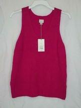 A Day Womens Sweater V neck Sleeveless Pink Cotton Nylon Blend - $12.99
