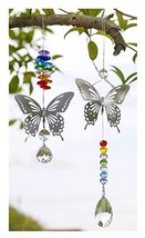 H&D HYALINE & DORA 2pcs Handmade Butterfly Crystal Prism Rainbow Maker with Mult
