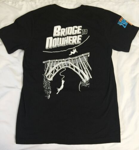 NWOT Bungee Jumping Black Shirt Road to Nowhere America Short Sleeve Small