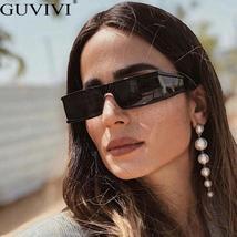 Vintage Rectangle Sunglasses Women Small Frame Mirror Sun Glasses Silver Black L image 4