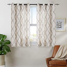 jinchan Print Curtains Moroccan Tile for Bedroom- Quatrefoil Flax Linen ... - $27.68