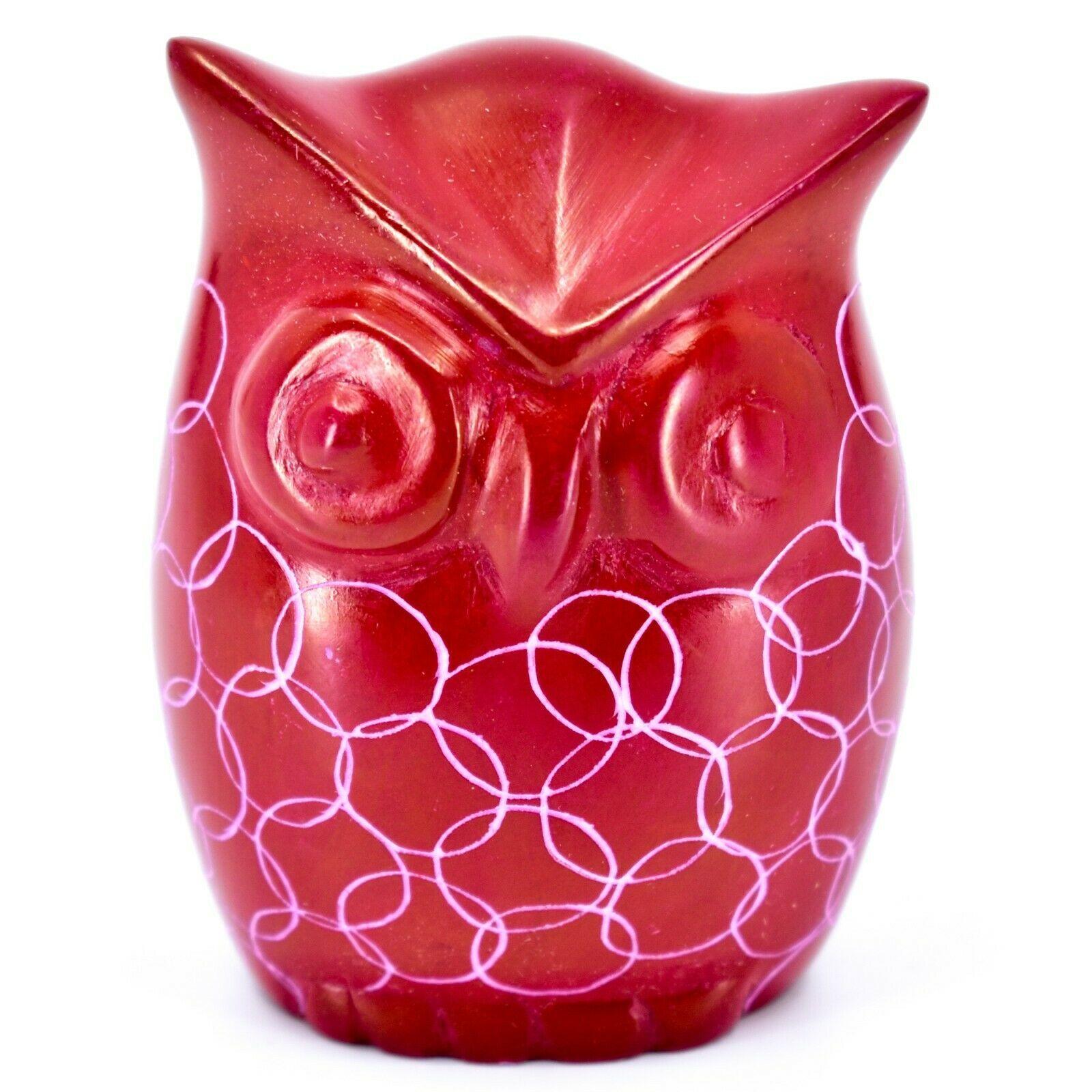 Tabaka Chigware Hand Carved Kisii Soapstone Red Owl Figurine Handmade in Kenya