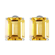 13 Carat 14K Solid White Gold Walk The Runway Citrine Earrings - $487.21