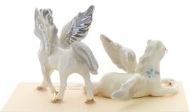Hagen-Renaker Miniature Ceramic Pegasus Figurine Standing and Lying Set of 2 image 2