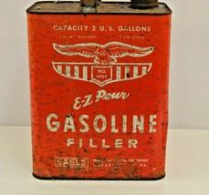 Eagle Mfg E-Z Pour Gasoline Filler Can VTG 2 Gallon Red Gas Service Station USA - $29.02