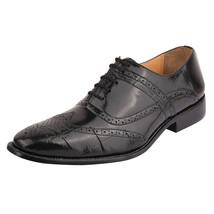 LIBERTYZENO Brogue Dress Shoes for Men Croco Print Toe Wingtip Shoes-Dallas - $59.99
