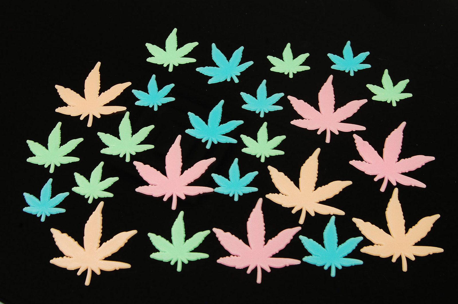 24 Piece Glow in the Dark Marijuana Weed Pot Leafs
