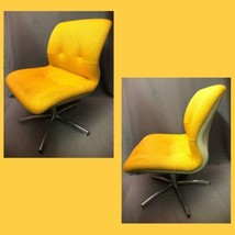 Knoll Pollock Style Mid Century Modern Vintage Yellow Fabric Lounge Chair - $494.99