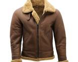 Men's Brown B3 Shearling WW2 Flying Aviator Bomber Sheepskin Leather Jacket - $205.41 CAD