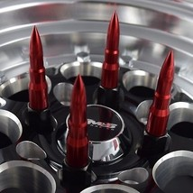 16X RED RACING BULLET 73MM 12X1.25 FORGED STEEL SPIKED LUG NUTS FITS NIS... - $99.95