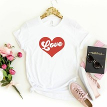 Womens Love Heart Valentines Short Sleeve T-shirt Valentines Day Gift fo... - $22.99