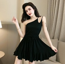 Solid color sexy off-the-shoulder personality unilateral sling skater dress image 2