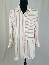 Lulus women M blouse button down long sleeve red striped shirt - $23.76