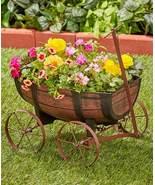 Garden Landscape Barrel Wagon Flower Planter - $60.00