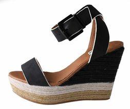 Not Rated Women's Black White Sand Summer Platform Wedge Sandals NIB image 5