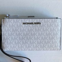 Michael Kors Jet Set Double Zip Wristlet Wallet ~ Bright White & Gray ~ ... - $84.95
