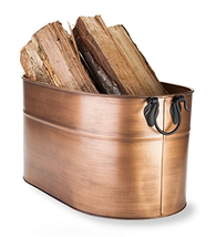 Plow & Hearth Galvanized Steel Firewood Bucket with Wrought Iron Handles... - $106.48