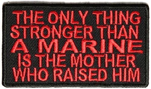 Stronger Than A Marine His Mother Patch - 3.5x2 inch