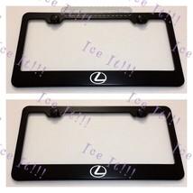 2X Lexus Logo Stainless Steel Black License Plate Frame Rust Free W/CAPS - $22.76