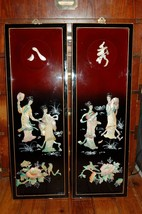PAIR OF VINTAGE ASIAN ORIENTAL LACQUER PAINTINGS MOTHER OF PEARL - $49.50