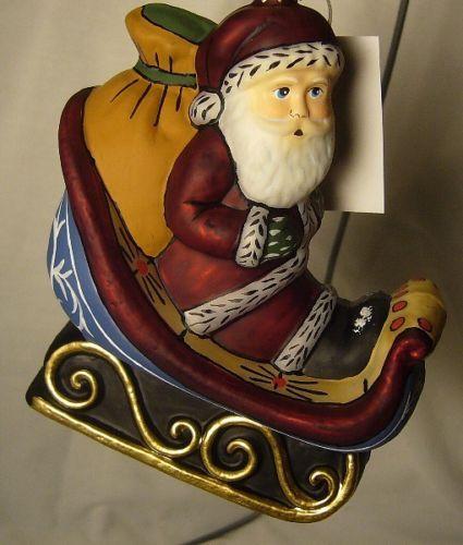 Vaillancourt Folk Art Hand Painted Santa in Sleigh ornament