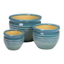 Light Blue with White Stripes Ceramic Planter Trio Set - $69.95