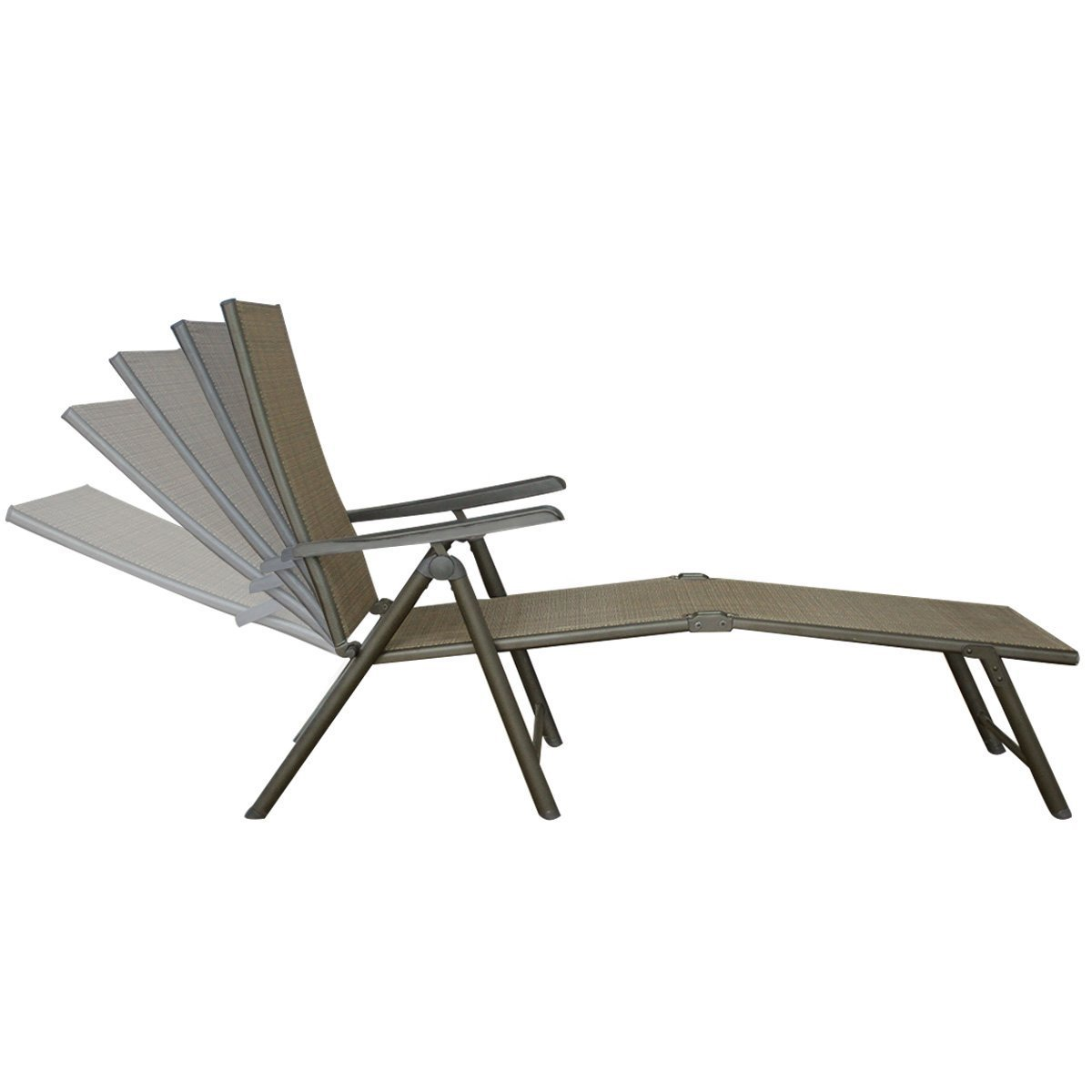 Pack of 2 Outdoor Recliner Lounge Chair Adjustable Chaise Patio Sun Daybed Tan