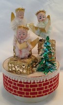 Vintage Music Box w/Pipe Cleaner Chenille Trio of Angels - $20.00