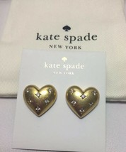 Kate Spade New York My Precious Heart Stud earrings Gold/Clear w/KS Dust... - $32.00