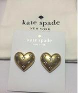 Kate Spade New York My Precious Heart Stud earrings Gold/Clear w/KS Dust... - $32.00