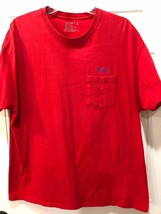 Hanes Relaxed Fit Cotton Red T-Shirt 'Papa' on Pocket, Men's L - $5.45