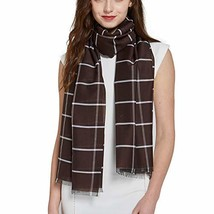"Long Check/Plaid Scarf Lightweight 74.8""27.5"" dark brown934 - $15.73"