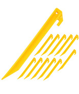 """12 Pack Yellow Tent Stakes 9"""" Plastic Pegs Outdoor Camping Garden Pins N... - $11.99"""